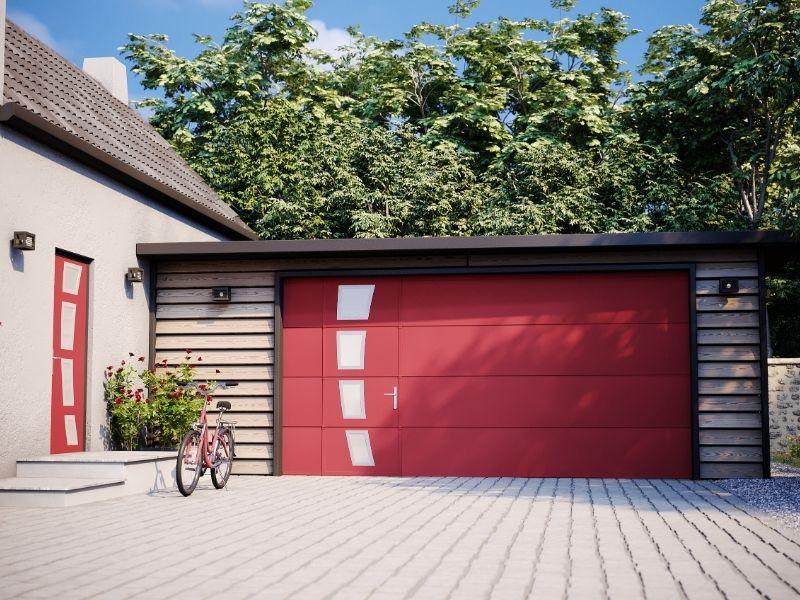 porte de garage sectionnelle avec portillon TORR - portes garage motorisées - produit 2 - taravello